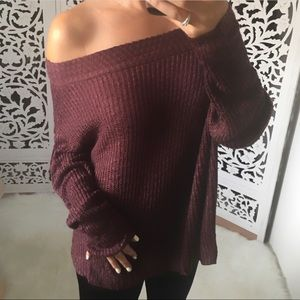 RESTOCKED! BLAKELY Slub Off Shoulder Sweater